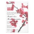Welcoming Spring Sakura Double Happiness Wedding Card