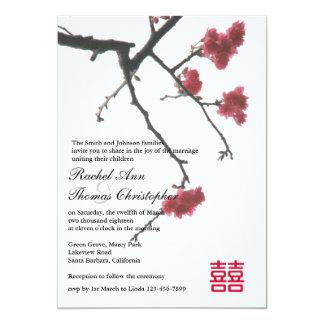 Welcoming Spring Sakura Oriental Zen Xi Wedding Card