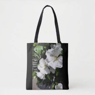 welcoming white flowers tote bag