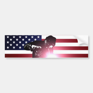 Welder and American Flag Bumper Sticker