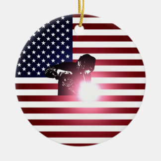 Welder and American Flag Christmas Ornament