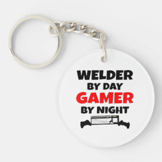 Welder by Day Gamer by Night Double-Sided Round Acrylic Key Ring