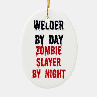 Welder By Day Zombie Slayer By Night Ceramic Oval Decoration