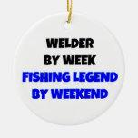 Welder by Week Fishing Legend by Weekend Round Ceramic Decoration
