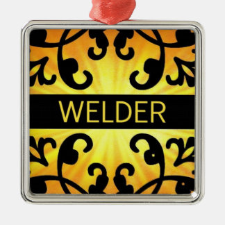 Welder Damask Christmas Ornament