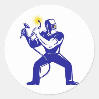 welder welding  worker cartoon round sticker