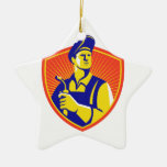 Welder With Welding Torch Shield Retro Ceramic Star Decoration