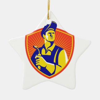 Welder With Welding Torch Shield Retro Christmas Ornament