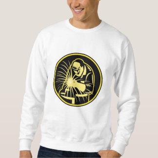 Welder With Welding Torch Visor Retro Pullover Sweatshirts