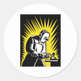 welder worker welding classic round sticker