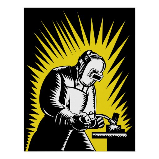 welder worker working welding woodcut poster