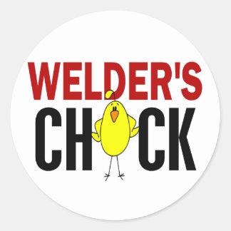 Welder's Chick Round Sticker