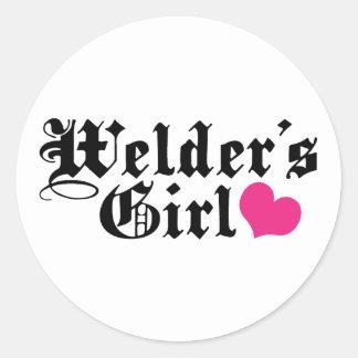 Welder's Girl Round Sticker
