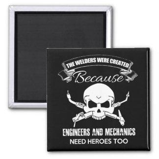 welders heroes Square Magnet