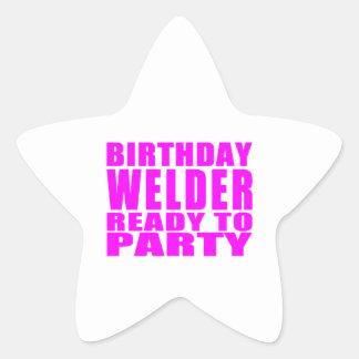 Welders : Pink Birthday Welder Ready to Party Star Sticker