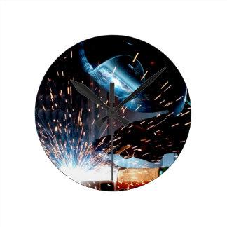 Welding Sparks Round Clock