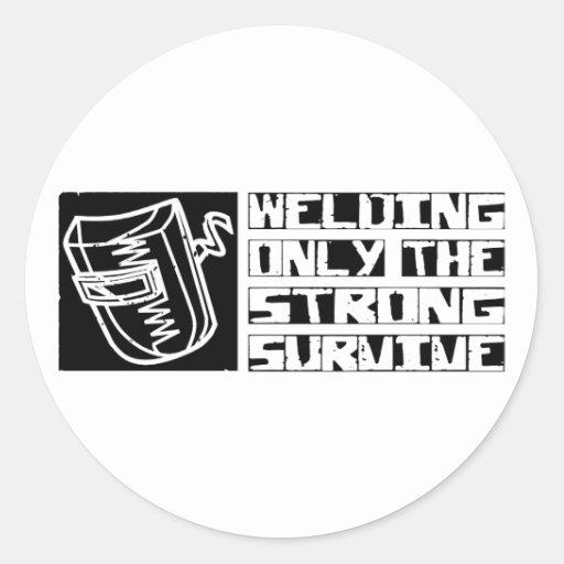 Welding Survive Round Sticker