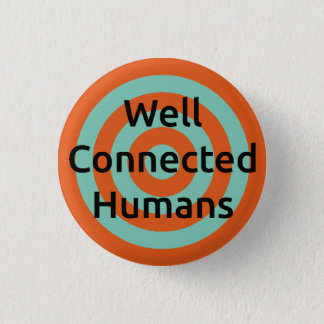 Well Connected Humans Target Badge, Orange/Blue 3 Cm Round Badge