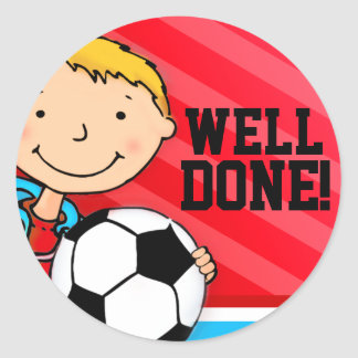 Well done! boys blue football soccer sticker round sticker