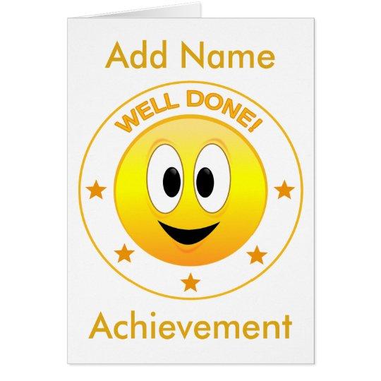 Well Done Happy Smiley Face Personalised Card