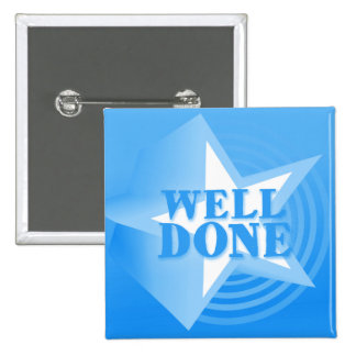 Well done star button badge in blue