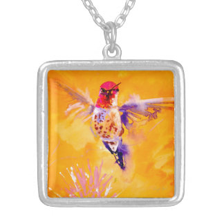 """""""Well Hello!"""" Hummingbird Print Silver Plated Necklace"""