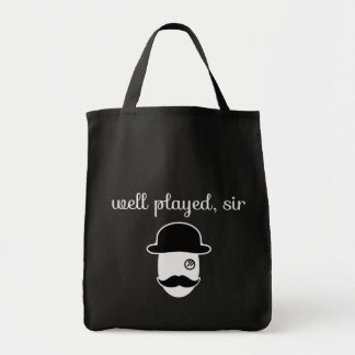well played Sir with monocle and moustache Grocery Tote Bag