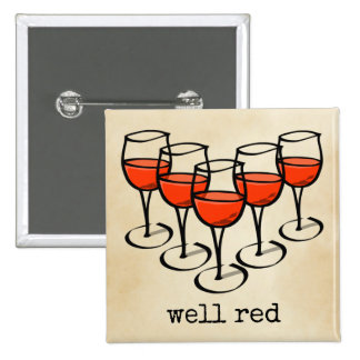 Well Red Wine Glasses 15 Cm Square Badge