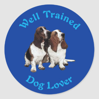 Well Trained (Basset Hound) Classic Round Sticker