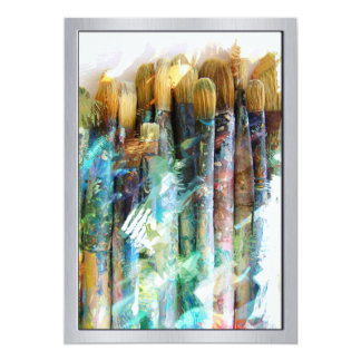 Well Used Artist Paintbrushes 13 Cm X 18 Cm Invitation Card
