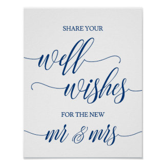 Well Wishes Wedding Sign in Navy Blue Calligraphy