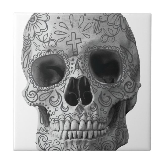 Wellcoda 3D Skull Horror Face Aztec Head Small Square Tile
