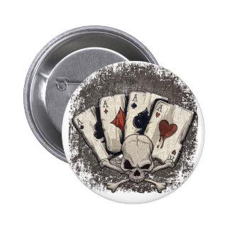 Wellcoda Ace Playing Cards Skull Casino 6 Cm Round Badge