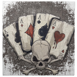 Wellcoda Ace Playing Cards Skull Casino Napkin