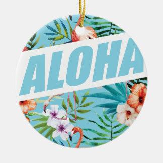 Wellcoda Aloha Hawaii Beach Wild Flamingo Round Ceramic Decoration