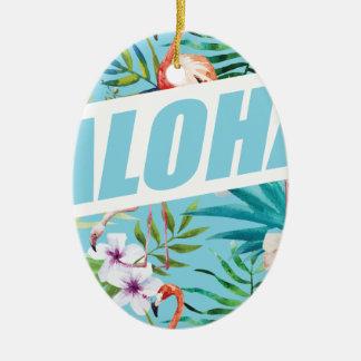 Wellcoda Aloha Summer Flamingo Holiday Ceramic Oval Decoration