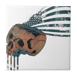 Wellcoda American Indian Skull Flag Injun Small Square Tile
