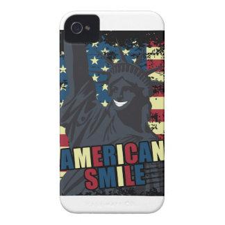 Wellcoda American Smile Funny Happy Crazy iPhone 4 Case-Mate Case