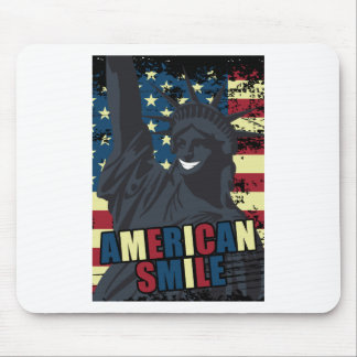 Wellcoda American Smile Funny Happy Crazy Mouse Mat