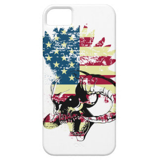 Wellcoda American USA Skull Horror Flag Case For The iPhone 5