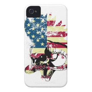 Wellcoda American USA Skull Horror Flag Case-Mate iPhone 4 Cases