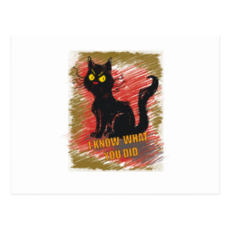 Wellcoda Angry Black Cat Meow Grumpy Pet Postcard