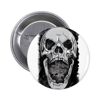 Wellcoda Angry Skull Reaper Skeleton Bone 6 Cm Round Badge