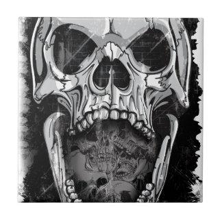 Wellcoda Angry Skull Reaper Skeleton Bone Tile