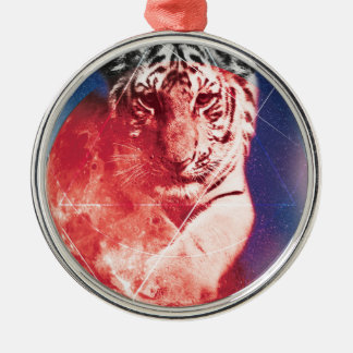 Wellcoda Animal Tiger Universe Galaxy Cat Silver-Colored Round Decoration
