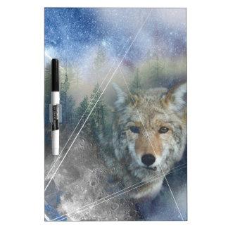 Wellcoda Animal Wolf Galaxy Fantasy Zoo Dry Erase Board