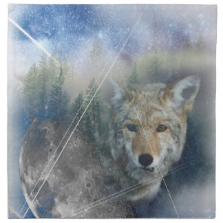Wellcoda Animal Wolf Galaxy Fantasy Zoo Napkin