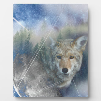 Wellcoda Animal Wolf Galaxy Fantasy Zoo Plaque