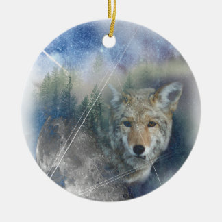 Wellcoda Animal Wolf Galaxy Fantasy Zoo Round Ceramic Decoration
