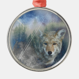 Wellcoda Animal Wolf Galaxy Fantasy Zoo Silver-Colored Round Decoration